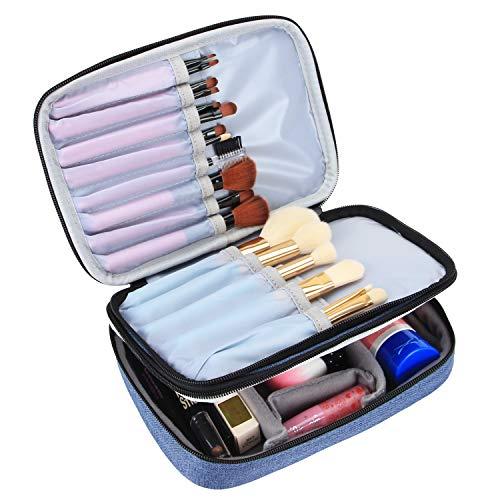 Teamoy Pinseltasche Kosmetik, Reise Kosmetiktasche für Kosmetik Pinsel, Make up Zubehör(nicht mehr als 8.8 Zoll/ 23cm), Blue