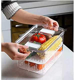 "Produce Keeper with Strainer, Stackable function, Freely Adjusted Horizontally, Store Fresh Fruits and Vegetables,1 C(10.86"" x 6.88"" x 5.7"")"