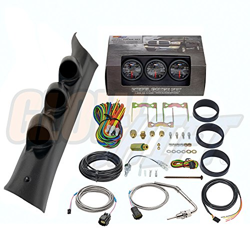 GlowShift Diesel Gauge Package for 2014-2019 Chevrolet Silverado 1500 2500HD 3500HD Duramax - Black 7 Color 60 PSI Boost, 1500 F Pyrometer EGT & Transmission Temp Gauges - Black Triple Pillar Pod