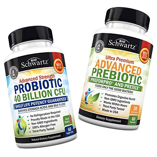 Probiotic 40 Billion CFU Guaranteed Potency Until Expiration + Prebiotics for Advanced Gut Health - Immune System & Digestive Support for Women & Men - Dairy & Gluten Free - No Refrigeration Required