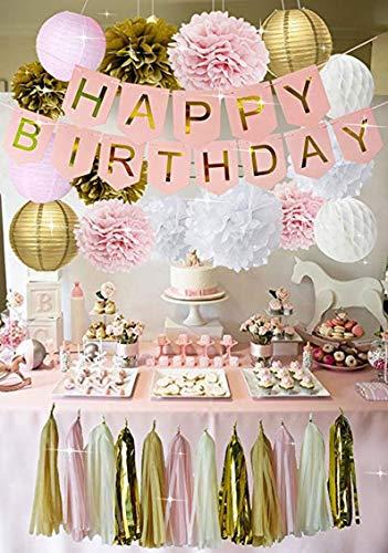Girls Birthday Party - (WGW) Pink Gold Birthday Decorations