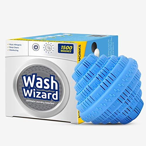 Wash Wizard Laundry Balls For Washing Machine (1 Pack) Reusable, Natural, Hypoallergenic and Eco-Friendly Washer Ball, Laundry Detergent Alternative, Lasts up to 1500 Washings