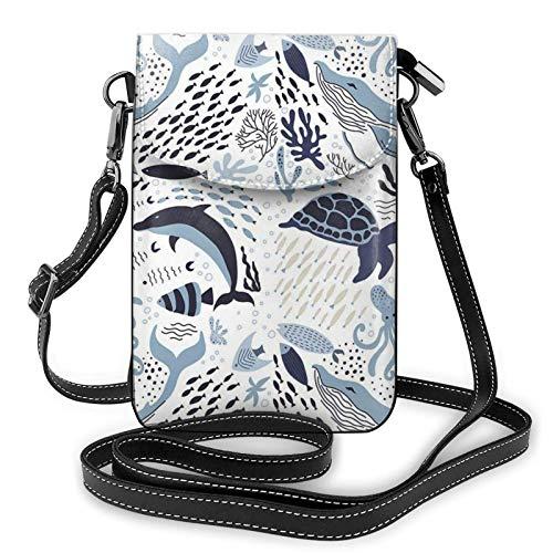 Bolso de cuero ligero para teléfono celular, diseño de tortuga pulpo océano, pequeño bolso de hombro para mujer