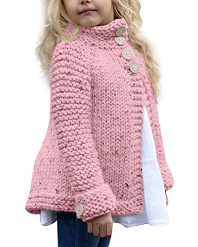 Toddler Baby Girls Autumn Winter Clothes Button Knitted Sweater Cardigan Cloak Warm Thick Coat (Pink, 3T)