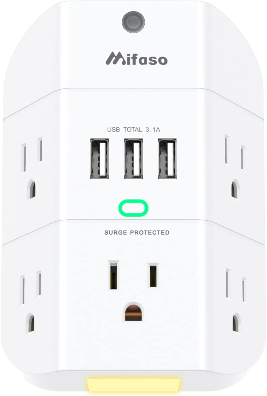 Mifaso 5-Outlet 1800J  Wall Surge Protector  $10.79 Coupon