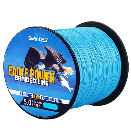 Samdely EaglePower Braided Fishing Line Abrasion Resistant Braided Lines Superior Knot Strength, Test for Salt-Water, 10LB-80LB, 100-500 Yds, Blue Camo, Ocean Blue, Green