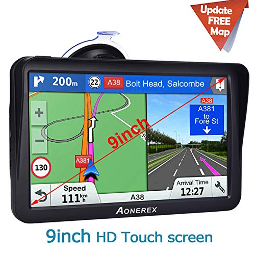 Truck Sat Nav, Aonerex 2019 Latest 9 inch With Sunshade GPS Navigation for Trucks Lorry HGV Caravan, Satnav for Cars with POI Speed Camera Warning,Voice Guidance Lane,Free Lifetime Map Updates