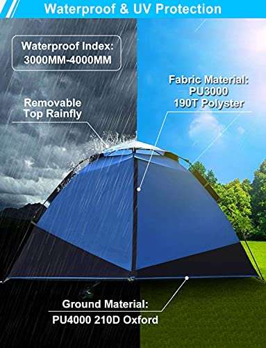 Pop Up Tent Instant Tent Camping Tents for 2 3 4 Person People Man Waterproof Easy Setup Set Up 2 Doors Winter Cold Weather 4 Season 4-Person Double Layer Popup Pop-up Quick Ez Up Family Tent Shelter