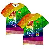 Manga Corta Creativo Más Talla Arco Iris Impreso Deportes Camisa Salvaje Camisa Verano Lgbt Orgullo Camiseta Regalo Vistiendo Cómodo / A3 / M
