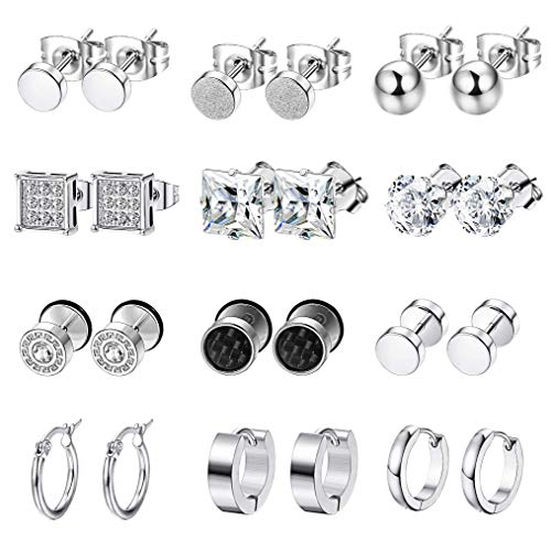 Finrezio 12Pairs Stainless Steel CZ Stud Earrings Set for Men Zircon Ball Earrings Cartilage Piercing Tiny Hoop Earrings Silver