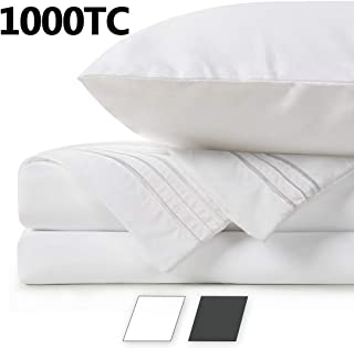 BALICHUN 100% Pure Natural Cotton Hotel Luxury Super Soft 1000 Thread Count Premium Bed Sheets Set,12-Inch Deep Pockets, Hypoallergenic, Wrinkle & Fade Resistant Bedding Set-4 Piece (White, Queen)