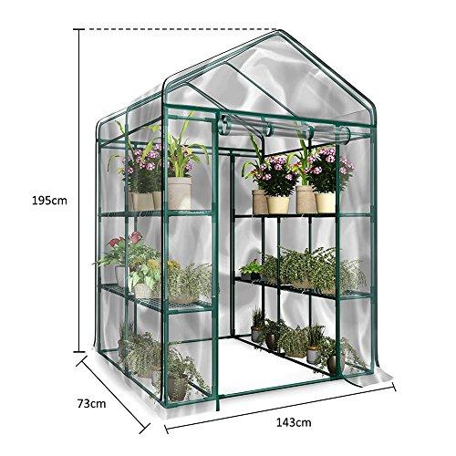 Gewächshaus Wasserdicht Foliengewächshaus aus PVC Treibhaus Pflanzen Tomatenhaus Wärmehaltung für Frühbeet, Blume, Gemüse (Ohne Eisenregal)-143cmx73cmx195cm