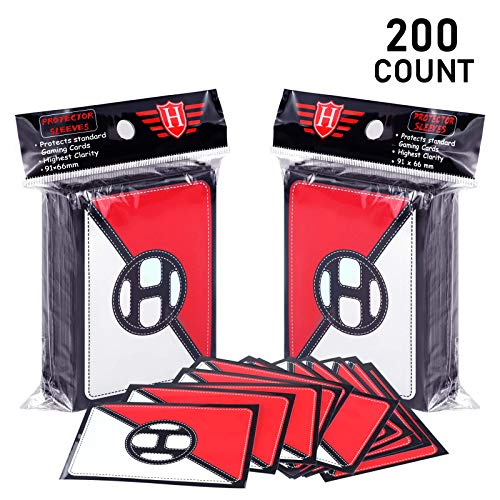 YKToyz 200 Trading Card Sleeves Protector Top loaders, Baseball Card Sleeves Compatible with Pokemon Cards MTG Cards Sports Cards for Standard Size Cards…