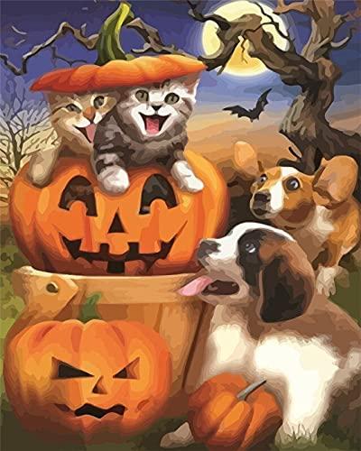 Pintura por números perro animal pintado a mano pintura arte regalo DIY imágenes por número kits de calabaza para regalo de Halloween A14 40x50cm