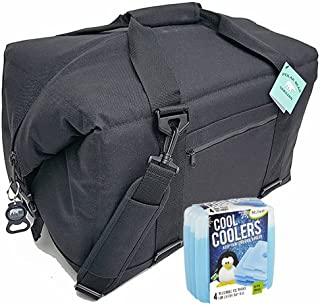 Polar Bear Coolers Nylon Series Soft Cooler Tote Size 12 Pack & Fit & Fresh Cool Coolers Slim Ice 4-Pack Bundle