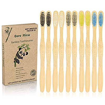 Amazon - Save 45%: Biodegradable Bamboo Toothbrushes, 10 Pcs Eco-Friendly Natural Toothbr…