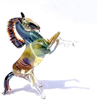 YourMurano, Murano glass horse sculpture, colorful statue for home decor, Trademark of Origin, Ayako