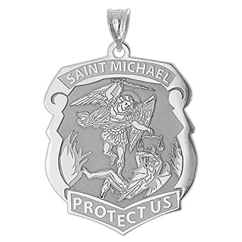 Saint Michael Badge - 3/4 Inch X 1 Inch - Sterling Silver