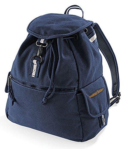 Quadra Vintage Freizeit Rucksack Damen und Herren : Canvas Backback Coole Retro Schultertasche mit Goodman Design ® Logo Farbe: navy-blau