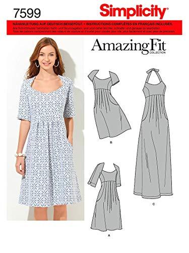Simplicity Schnittmuster 7599 BB Damen Kleid,Habiller in 3 Variationen, Gr. 46-54