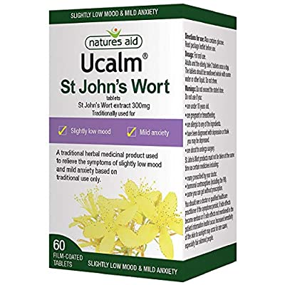 Natures Aid Ucalm St John's Wort, Relief of Symptoms of Slightly Low Mood and Mild Anxiety, Vegan, 60 Tablets