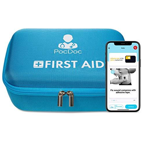 PocDoc Premium - Intelligenter Verbandskasten mit gratis APP (iOS & Android) - KFZ Füllung nach DIN 13164 - Erste Hilfe Maßnahmen im Auto & Zuhause - Blau