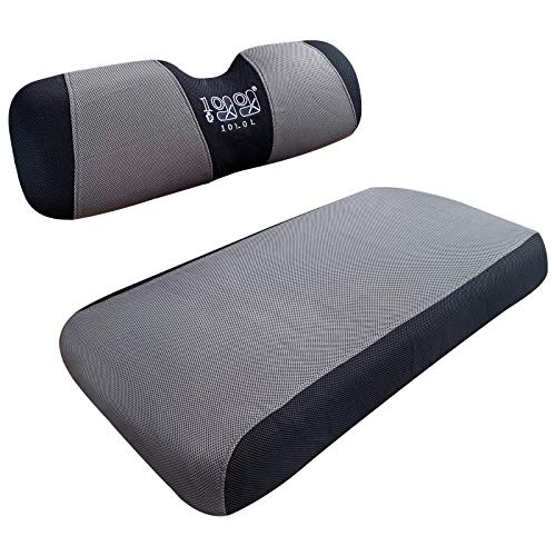 10L0L Golf Cart Seat Cover Mesh Bench Seat Cover Fits Most of Yamaha Club Car Precedent DS 2-seat (Gray+Black)