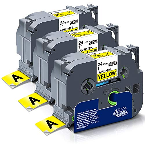Absonic Compatible Label Tape Replacement for Brother Tze-651 TZ 651 Laminated 24mm Black on Yellow, for PT-D600 PT-D600VP PT-P750W PT-P710BT E550WVP 2730VP 2430PC, 0.94in x 26.2ft, 3-Pack