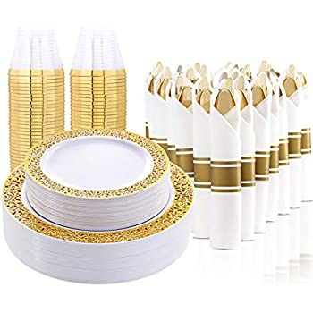 LLSF 210 Pcs Gold Plastic Plates Disposable Dinnerware Set Includes  30 Dinner Plates 30 Salad Plates 30 Cups 9 OZ and 30 Per Rolled Napkins with Gold Cutlery Perfect for Party and Wedding