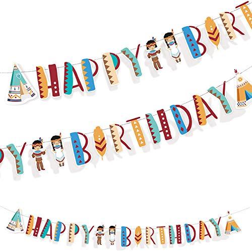 1,80m Partykette * Tipi & Tomahawk * als Deko für Kindergeburtstag und Motto-Party | Happy-Birthday-Girlande aus Pappe | Indianer Wilder Westen Kinder Geburtstag Mottoparty Sioux Amerika USA