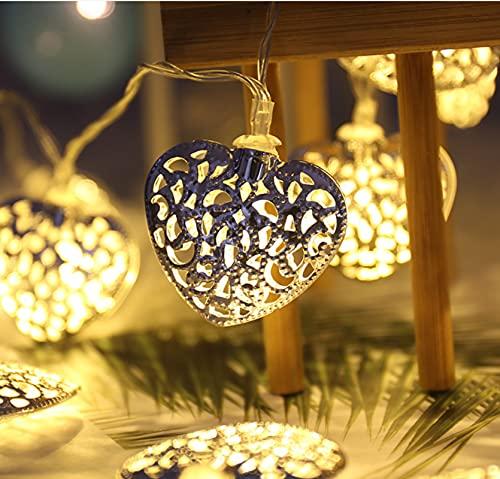 8 patrones 10LED cadena de luz solar hierro hueco amor corazón cadena de luz interior y exterior luces de decoración navideña