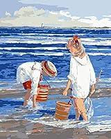 DIY 数字油絵 キャンバスの油絵 海の少年を急いで 塗り絵 手塗り DIY絵 デジタル油絵 数字油絵 40x50 cm(フレームレス)