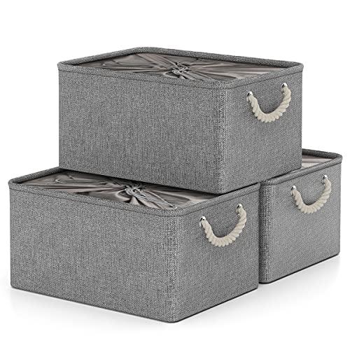 Caja de Almacenamiento con Cordones Cerrados, Canasta de Almacenamiento Plegable Grande de 3 Piezas con Asas, Organizador para el Hogar para Juguetes, Ropa, Productos de Oficina