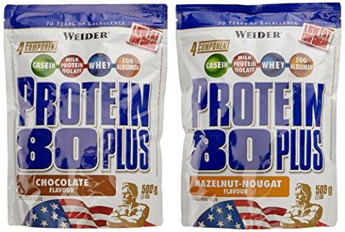 WEIDER Protein 80 Plus Eiweißpulver, 2 Pack Mixed, Schoko/Haselnuss-Nougat, Low-Carb, Mehrkomponenten Casein Whey Mix für Proteinshakes, 2x500g