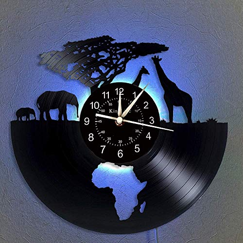 Vinyl Wanduhr, Afrika - Safari Tiere 7 Farbe Nachttischlampe Retro Wanduhr, South African Tier Geschenke handgemachte Hauptwanddekor,A,with Light