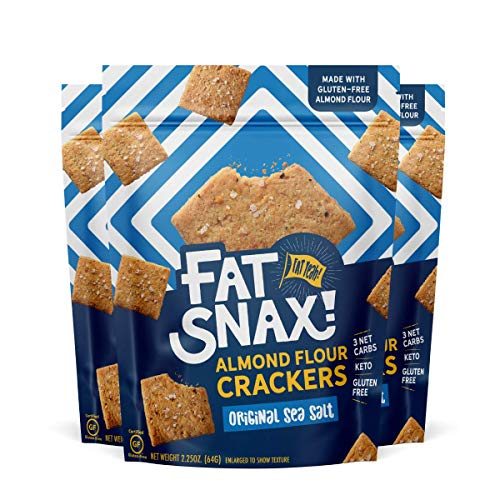 Fat Snax Almond Flour Gluten-Free Crackers - Low-Carb Keto Crackers with 11g of Fats - 2-3 Net Carb* Keto Snacks - (Sea Salt, 3-Pack)