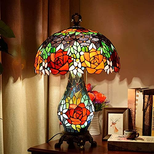 WRISCG Table Lamps Idyllic Creative Retro Rose Flower Table Lamp Classic Warm Living Room Bedroom Hotel Bar Glass Lamps 40 * 65CM