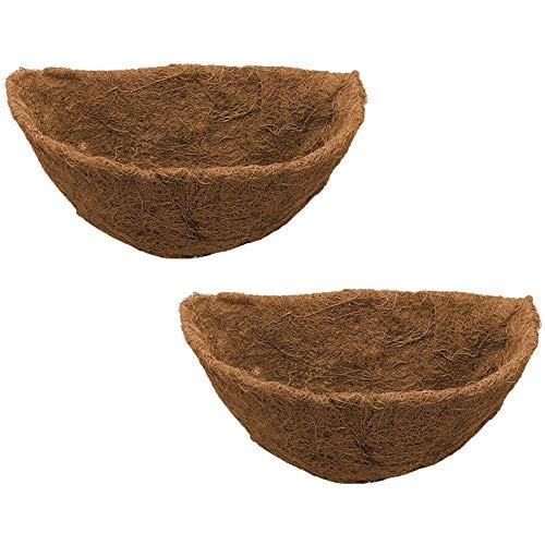 SATIC Fodera Semicircolare nel Coco, Fioriera Semicircolare nel Fibra di Cocco, Fodere di Ricambio per Cestini da Appendere Un Parete, Confezione da 2 14 Pollici