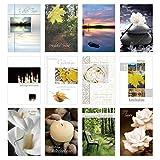 Set 12 einfühlsame Trauerkarten/Beileidskarten mit Umschlag. Trauerkarte Beileidskarte mit Spruch schreiben (Doppelkarten/Klappkarten mit Briefumschlag)
