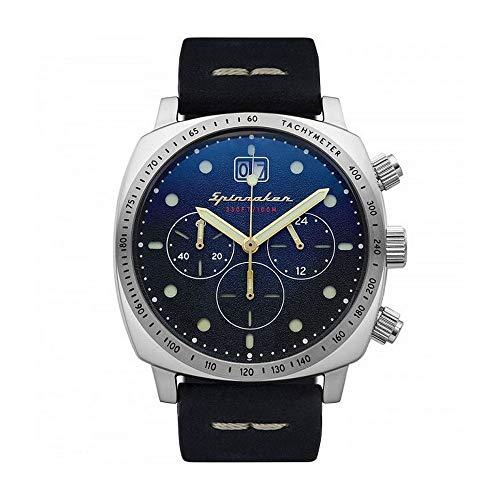 Herren-Armbanduhr – Spinnaker – Hull – Chronograph – Datum – Gehäuse rund – Edelstahl – Zifferblatt blau – Armband aus echtem Leder – SP-5068-03