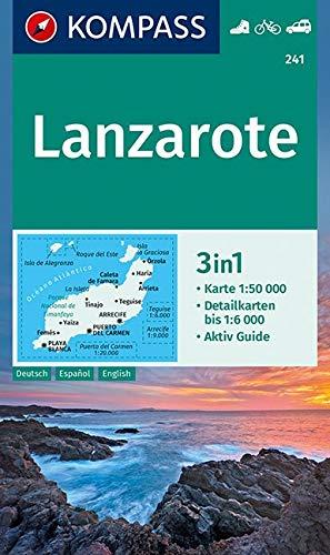KOMPASS Wanderkarte Lanzarote: 3in1 Wanderkarte 1:50000 mit Aktiv Guide und Detailkarten. Fahrradfahren. Autokarte. (KOMPASS-Wanderkarten, Band 241)