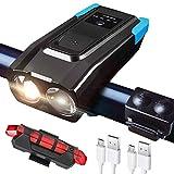 JarGaBo Luci Bicicletta LED Ricaricabili USB 2X T6 LED, Luci LED per Bicicletta Ricaricabili USB con Clacson, Luci LED Impermeabile IP65 Adatto per Corsa MTB Monopattino Elettrico Bici da Strada