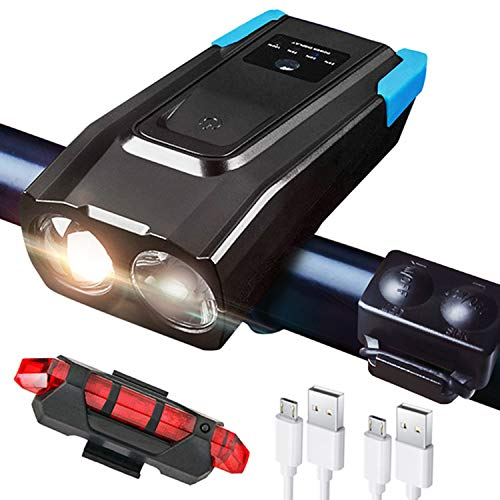 Luci Bicicletta LED Ricaricabili USB 2X T6 LED, Luci LED per Bicicletta Ricaricabili