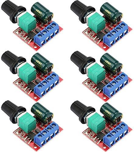 VISSQH 6 Stücke PWM Motor Drehzahlsteller, DC 5V-35V 5A Einstellbarer Reversible, DC 6V 12V 24V 35V DC Motordrehzahl Schalter Controller LED Volt Regler