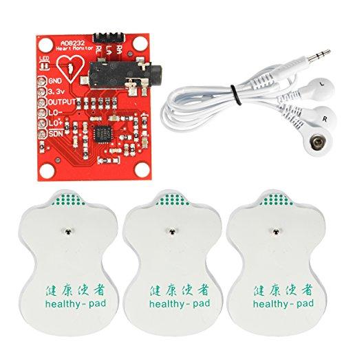 ILS - Kit DC 3.3V AD8232 Módulo ECG portátil de medición del Monitor de corazón Biológicos