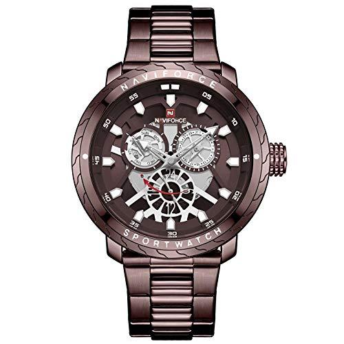 Smartwatches,Transparente Gebrauchte Große Zifferblatt Stahlbanduhr Sport Quarzuhr, Braun