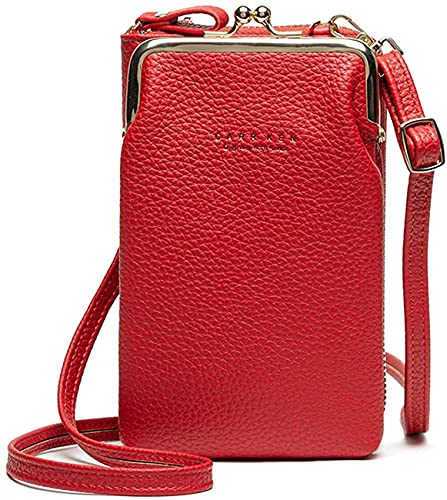 Pequeña bolsa de teléfono cruzada para mujeres, bolsa de gran capacidad para teléfono celular, bolso de hombro, titular de la tarjeta monedero (rojo)