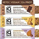 IQBAR Brain + Body Protein Bars, Chocolate Lovers Variety, Keto, Vegan, Paleo Friendly, Low Sugar, Low Net Carb, High Fiber, Gluten Free, No Sugar Alcohols, 12 Count