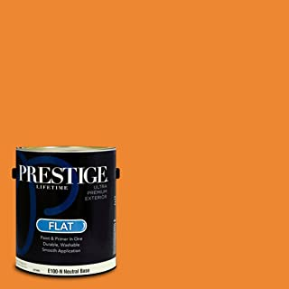 PRESTIGE Paints E100-N-SW6893 Exterior Paint and Primer in One, 1-Gallon, Flat, Comparable Match of Sherwin Williams Kid's Stuff, 1 Gallon, SW105-Kid's