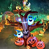 SOARRUCY 8 Ft Halloween Inflatable Dead Tree with Ghosts Pumpkins Decoration Blow up Airblown Decor for Lawn Patio Indoor Outdoor Home Yard Party